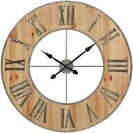 ELK Home 3205-002 Foxhollow Vintage Natural Oak Stain, Raw Steel Wall Clock