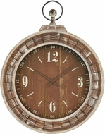 Sterling 3214-1014 Quartermaster Vintage Burnt Wood / Rust Wall Clock