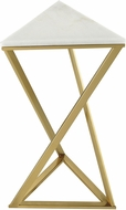 Sterling 351-10556 En Garde Modern Gold / White Gold Plated Metal Accent Table with Genuine White Marble Top