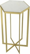 Sterling 351-10557 Halter Contemporary Gold / White Gold Plated Metal Accent Table with Genuine White Marble Top
