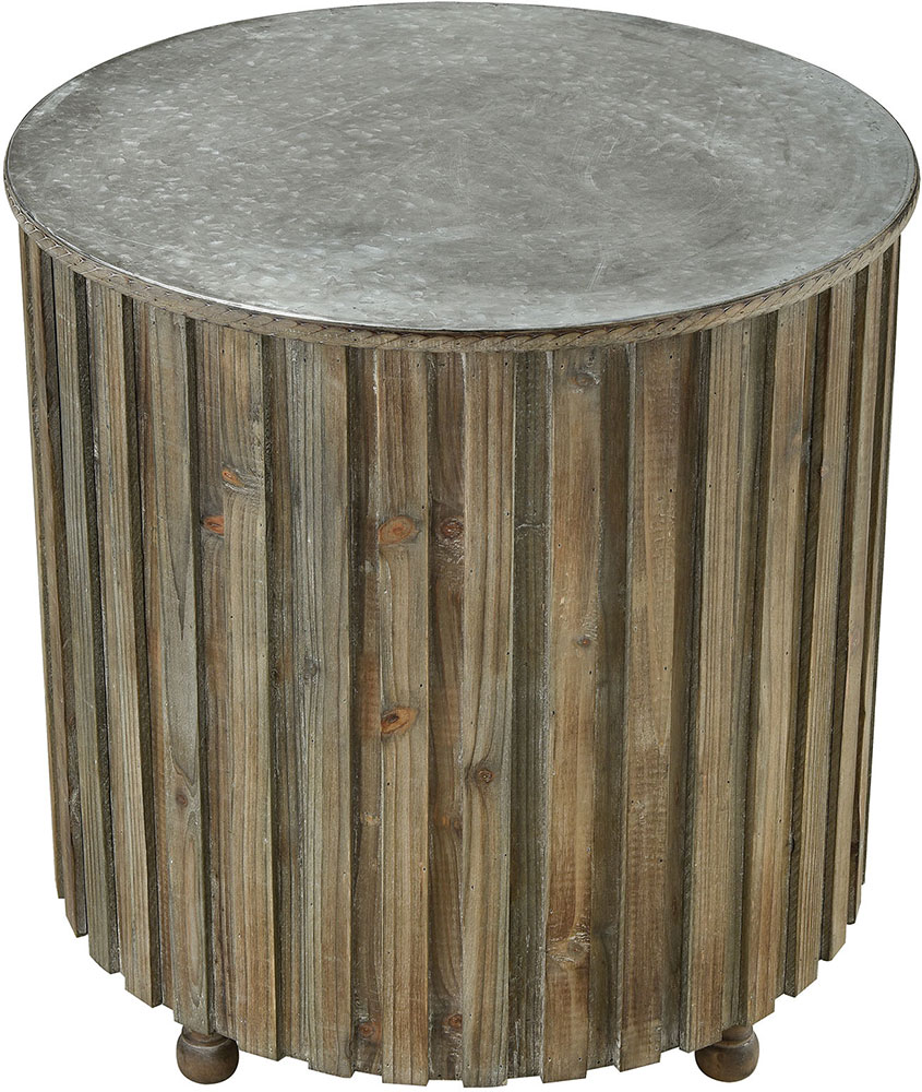 Sterling 351 10593 Boone Salvaged Grey Oak / Galvanized Steel Accent Table.  Loading Zoom
