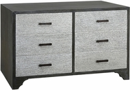 Sterling 7011-1579 Chimney Corner Grey Washed Grey MDF 6-Drawer Chest with Solid Mahogany Veneers
