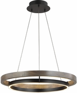 Tech 700GRC30BW-LED930 Grace Modern Matte Black / Weathered Oak Wood LED 30  Hanging Pendant Lighting