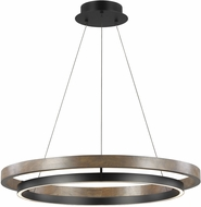 Tech 700GRC36BW-LED930 Grace Modern Matte Black / Weathered Oak Wood LED 36  Pendant Hanging Light