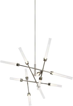 Tech 700LNG12AN-LED930 Linger Contemporary Polished Nickel LED Ceiling Chandelier