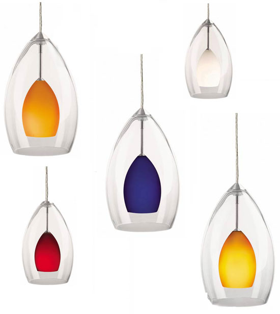 Tech Inner Fire Clear Over Color Low Voltage Halogen Art Gl Pendant Light