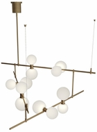 Tech MODERNRAIL-CHAN-2-GLASS-ORBS ModernRail Modern Aged Brass LED Ceiling Chandelier