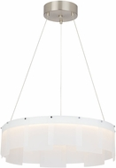 Tech Stratos Contemporary Frost/Satin Nickel LED Drum Drop Ceiling Lighting