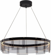 Tech Stratos Modern Smoke/Black LED Drum Ceiling Light Pendant