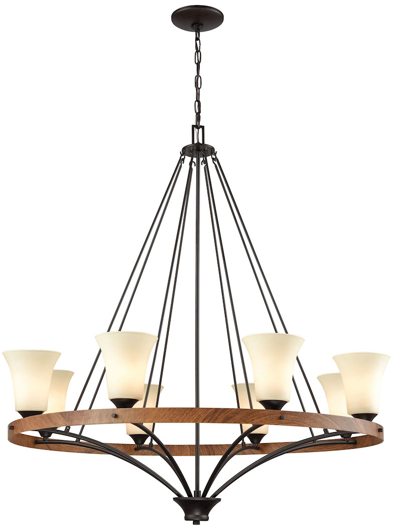 Thomas Cn160821 Park City Oil Rubbed Bronze Wood Grain Chandelier Lamp Loading Zoom
