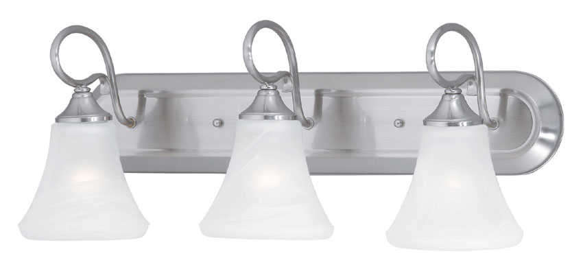 Bathroom Vanity 3 Light Fixture Brushed Nickel Bell Wall: Thomas SL744378 Elipse 24 Inch Wide 3 Lamp Transitional