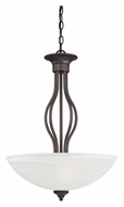 Thomas SL823663 Tahoe Painted Bronze 20 Inch Diameter Etched White Glass Bowl Pendant Lighting Fixture