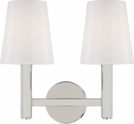 TOB by Thomas O'Brien TV1122PN Logan Contemporary Polished Nickel 2-Light Bath Light Fixture