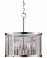 Trans Globe 10224-BN Mesh Contemporary Brushed Nickel 16  Drum Hanging Lamp