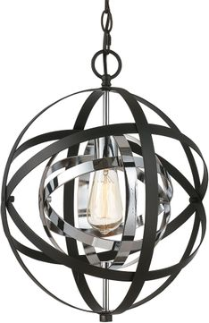 Trans Globe 10790-PC-BK Monrovia Modern Polished Chrome / Black Mini Pendant Light