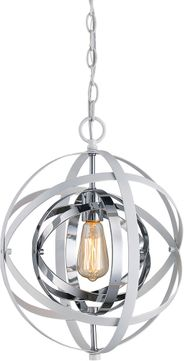 Trans Globe 10790-WH-PC Monrovia Modern White and Polished Chrome Mini Pendant Lamp