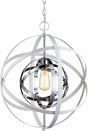 Trans Globe 10791-WH-PC Monrovia Modern White and Polished Chrome 18  Pendant Lighting Fixture