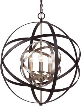 Trans Globe 10793-ROB-ASL Monrovia Contemporary Rubbed Oil Bronze / Antique Silver Leaf 22  Pendant Hanging Light