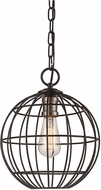 Trans Globe 10961-BK-BN Industrial Cage Modern Black/Brushed Nickel 12  Hanging Light