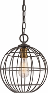 Trans Globe 10961-ROB-AG Industrial Cage Modern Rubbed Oil Bronze/Antique Gold 12  Pendant Light Fixture