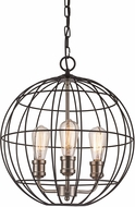 Trans Globe 10963-BK-BN Industrial Cage Modern Black/Brushed Nickel 16  Pendant Lighting Fixture