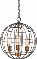 Trans Globe 10963-ROB-AG Industrial Cage Modern Rubbed Oil Bronze/Antique Gold 16  Hanging Pendant Lighting