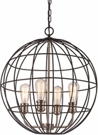 Trans Globe 10964-BK-BN Industrial Cage Contemporary Black/Brushed Nickel 20  Hanging Pendant Light