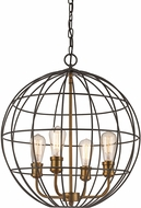Trans Globe 10964-ROB-AG Industrial Cage Contemporary Rubbed Oil Bronze/Antique Gold 20  Pendant Hanging Light