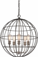 Trans Globe 10965-BK-BN Industrial Cage Contemporary Black/Brushed Nickel 24  Hanging Light Fixture