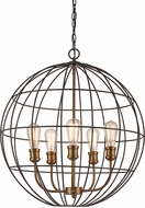 Trans Globe 10965-ROB-AG Industrial Cage Contemporary Rubbed Oil Bronze/Antique Gold 24  Drop Lighting