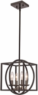 Trans Globe 11184-BN-BK Geometric Cage Contemporary Brushed Nickel/Black 12  Pendant Light Fixture