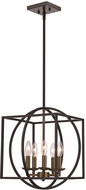 Trans Globe 11185-AG-BK Geometric Cage Modern Antique Gold/Black 16  Pendant Lighting Fixture