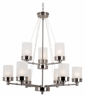 Trans Globe 70339 BN Large Brushed Nickel 32 Inch Diameter 9 Light Chandelier