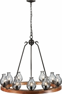 Trans Globe 70579 Bottles Retro Black and Wood Chandelier Lighting