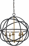 Trans Globe 70655-BK-AG Apollo Modern Black/Antique Gold 20  Hanging Lamp