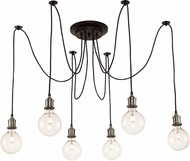Trans Globe PND-2031-BN-ROB Cattail Contemporary Brushed Nickel + Rubbed Oil Bronze Multi Pendant Lighting