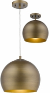 Trend TP7265-76 Latitude Hand Painted Antique Gold with Gold Interior 12  Hanging Light Fixture / Flush Mount Light Fixture