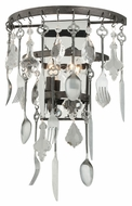 Troy B3802 Bistro Graphite Finish with Antique Pewter Flatware 12.25 Wide Light Sconce