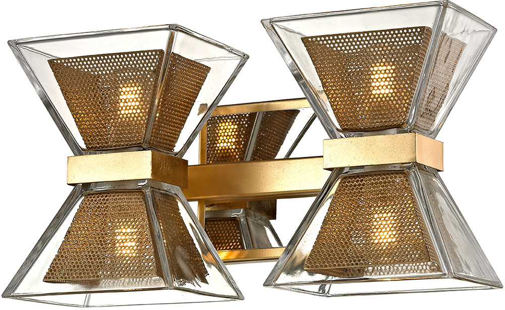 Troy B5802 Expression Modern Gold Leaf LED 2-Light Bathroom Light ...