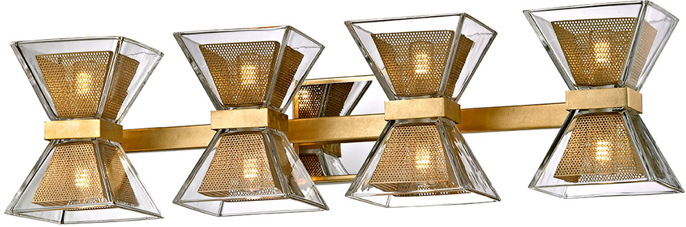 Troy B5804 Expression Modern Gold Leaf LED 4 Light Bathroom Vanity Light.  Loading Zoom