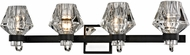 Troy B5884 Faction Contemporary Forged Iron And Polished Nickel 4-Light Bathroom Wall Light Fixture
