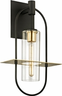 Troy B6393 Smyth Modern Dark Bronze &�Brushed Brass Outdoor 12.5  Lighting Sconce
