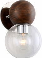 Troy B7671 Arlo Contemporary Polished Sterling Silver and Natural Acacia Sconce Lighting