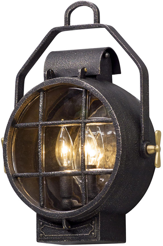 nautical outdoor wall lights outside wall troy bl5031 point lookout nautical aged silver with polished brass accents led outdoor wall light fixture loading zoom