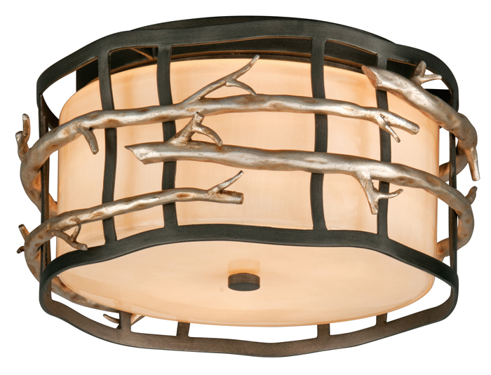 detailed look 44a88 ba60f Troy C2880 Adirondack 2-light Rustic Flush Mount Ceiling Light