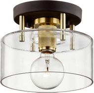 Troy C7540 Bergamot Station Bronze and Brass 8.5  Flush Mount Lighting