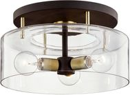Troy C7542 Bergamot Station Bronze and Brass 17  Flush Mount Light Fixture