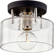 Troy C7550 Bergamot Station Carbide Black and Polished Nickel 8.5  Flush Mount Lighting Fixture