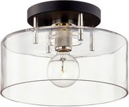 Troy C7551 Bergamot Station Carbide Black and Polished Nickel 12.25  Flush Ceiling Light Fixture