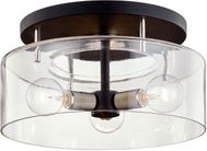 Troy C7552 Bergamot Station Carbide Black and Polished Nickel 17  Flush Mount Ceiling Light Fixture